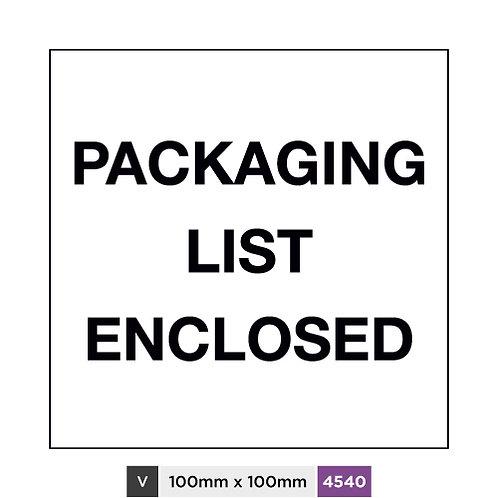 Packaging list enclosed