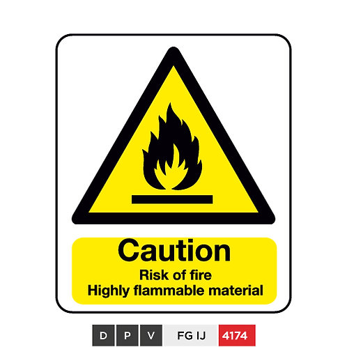 Caution, Risk of fire, Highly flammable material