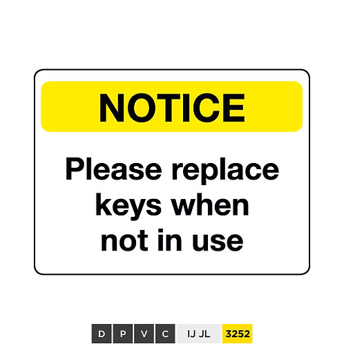 Notice, Please replace keys when not in use