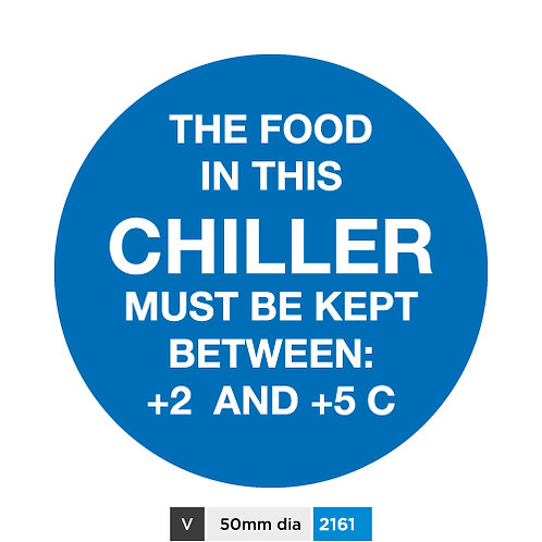The food in this chiller must be kept between +2 and +5 C