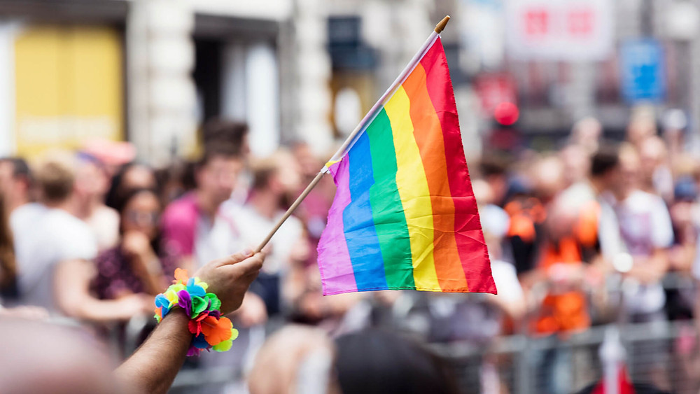 Holding a Pride Flag at the a Pride March