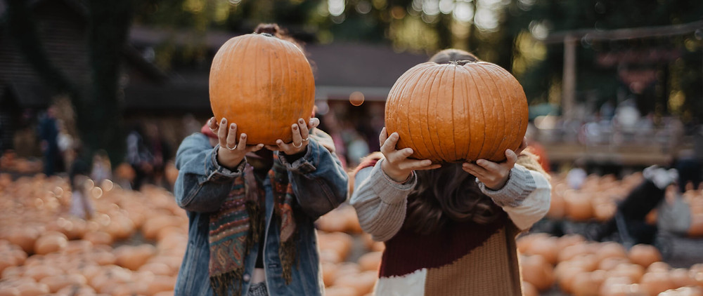 Two people holding up pumpkins for a fall anniversary ideas
