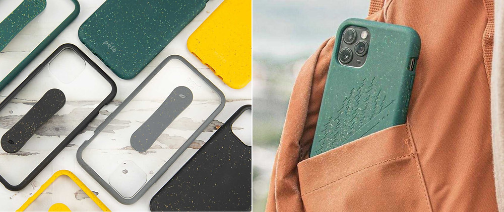 An assortment of phone cases by Pela for an anniversary gift