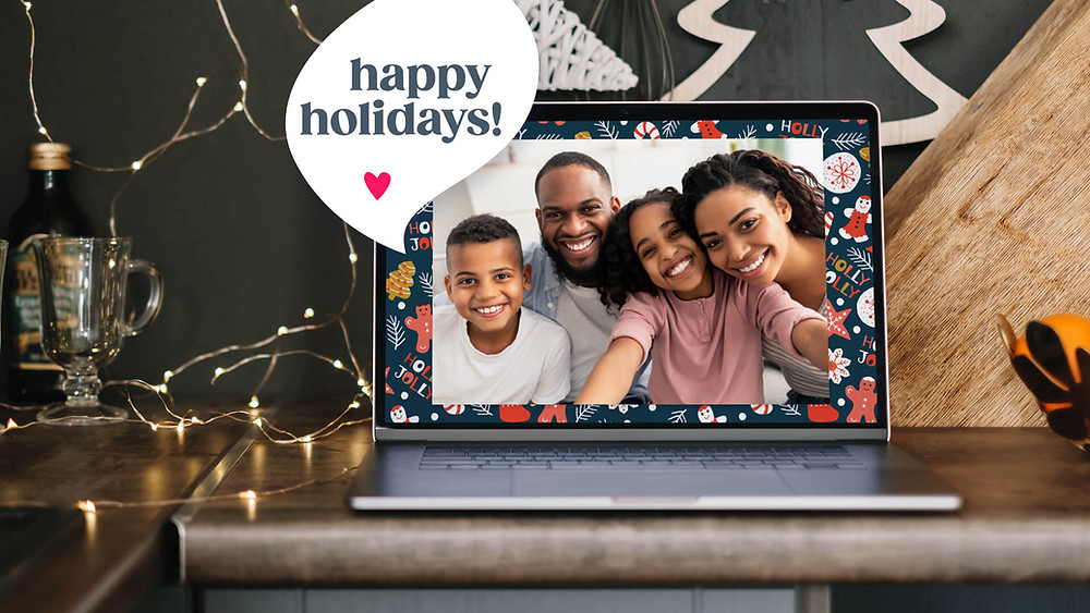 VidDay video maker holiday video with a family saying happy holidays