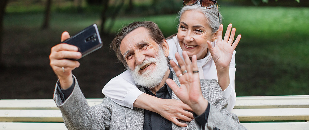 an old couple sending in a message for bridal shower video