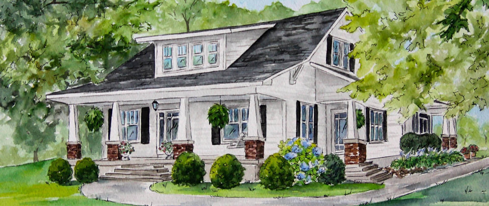 A watercolor drawing  of a house for an anniversary