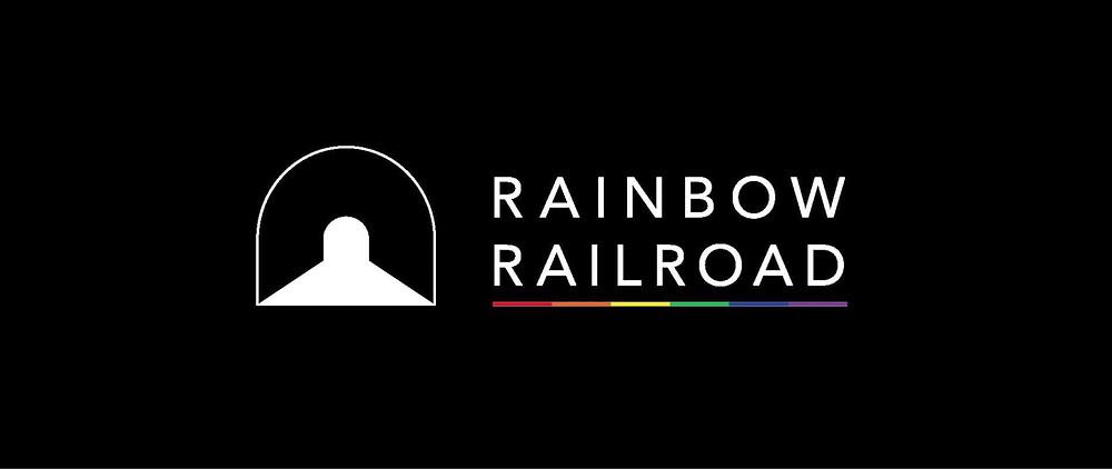 Rainbow railroads logo for Pride Month