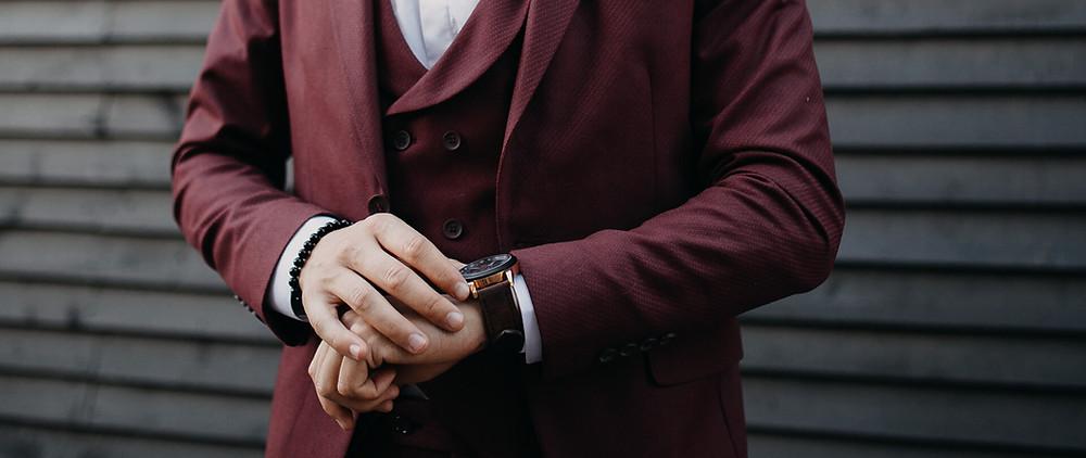 Fall wedding suit in maroon