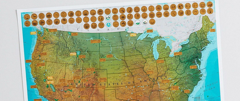 A scratch off map for a fathers day gift.