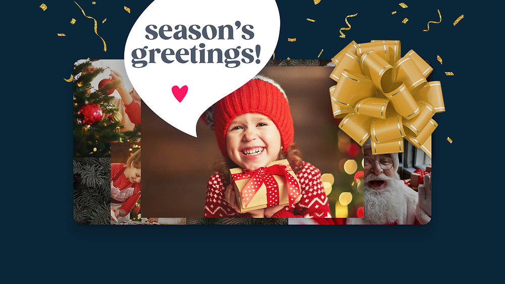A kid with a video gift wishing people a season's greetings.