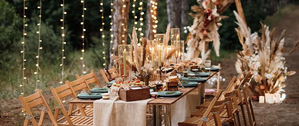A cozy fall wedding table for an outdoor wedding