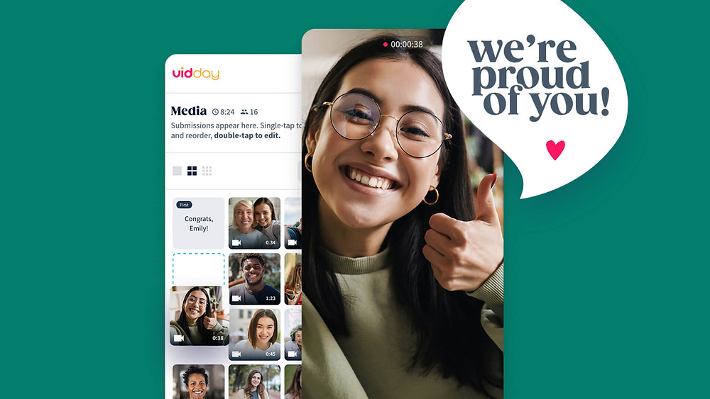 """A lady in a VidDay with """"we're proud of you"""" written"""