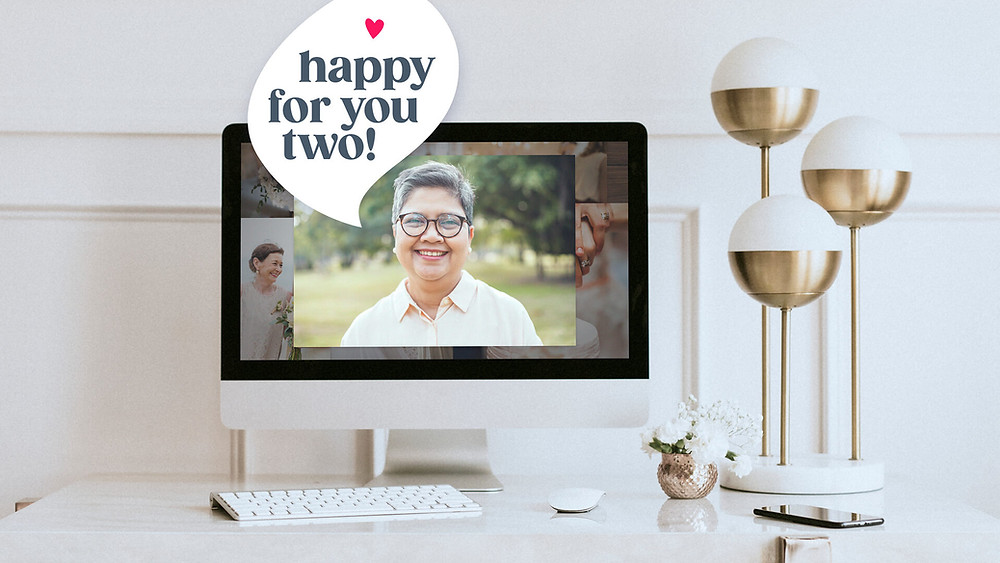 Happy wedding video gift on the computer