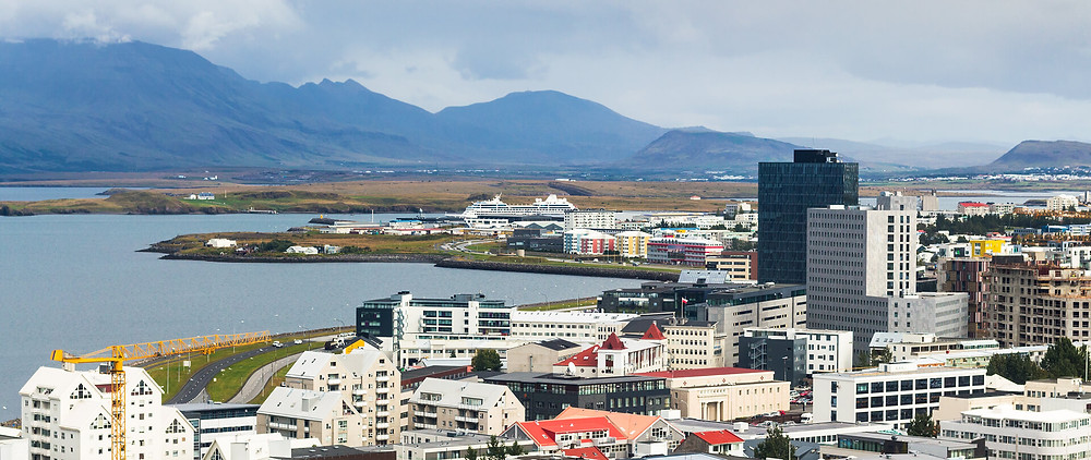 downtown Reykjavik with mountains in background