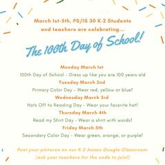 K-2, 100th Day of School Spirit Week!