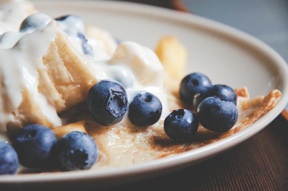 Food perfect for post training. Banana and pancakes and yoghurt.