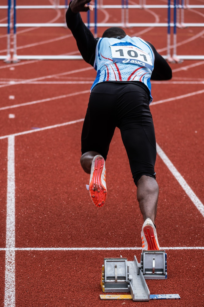 Track and Field athlete sprinting