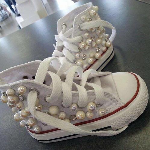 converse bambina con perle