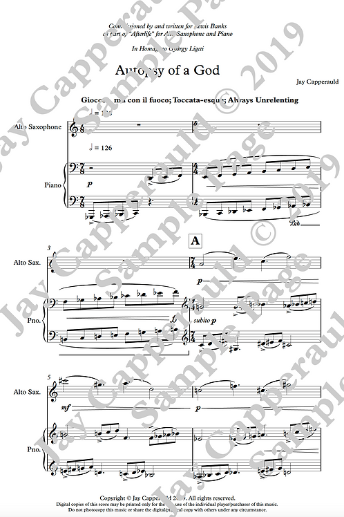 Autopsy of a God for Alto Saxophone & Piano (2019)