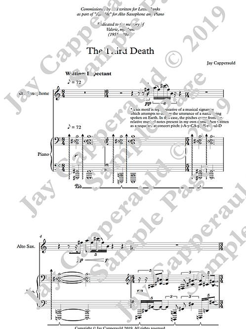 The Third Death for Alto Saxophone & Piano (2019)