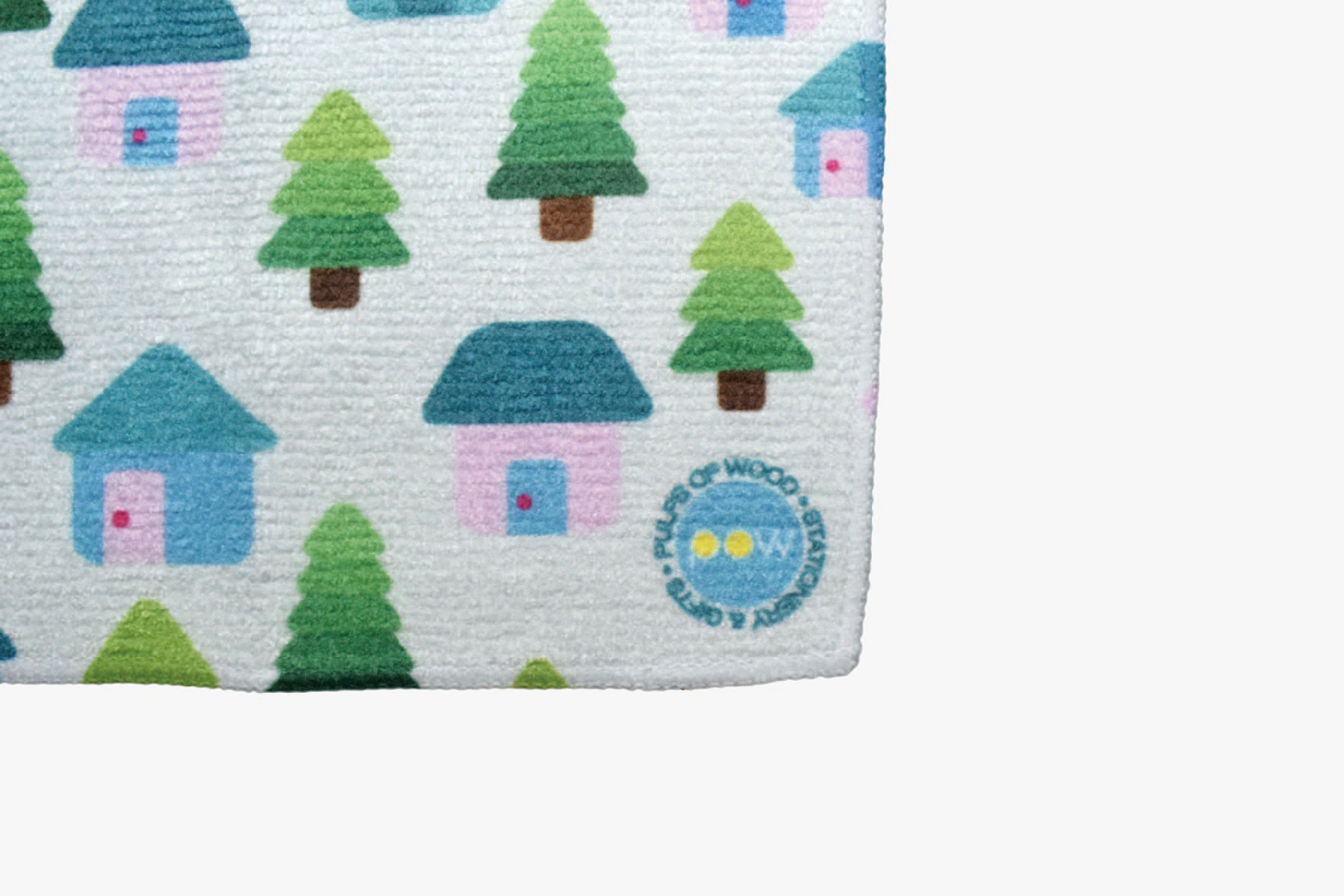 Square Face Towel | Cabins in Green