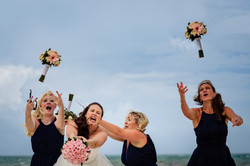 bridesmaid bouquet bride wedding party beach destination photographer playa del carmen cancun