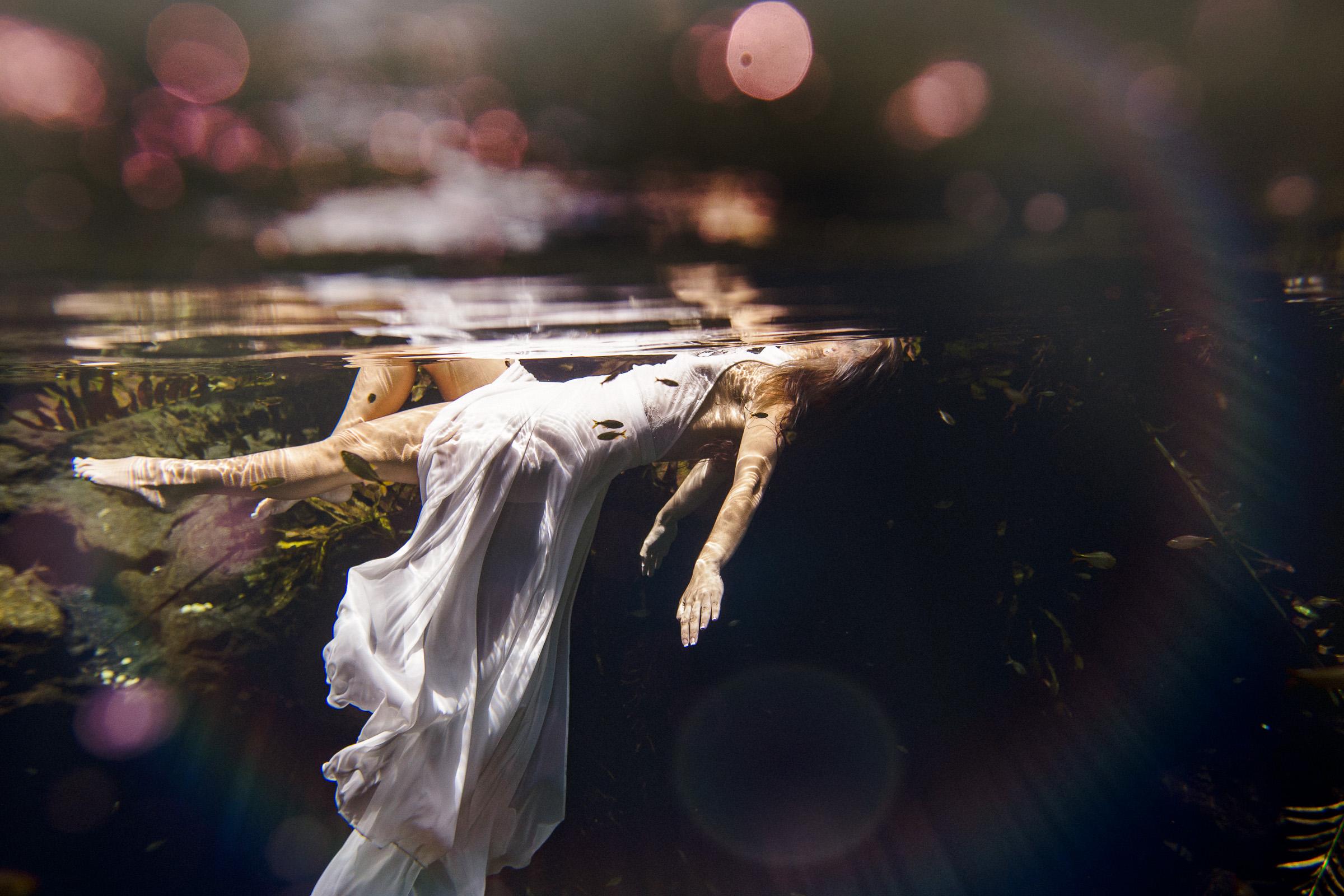 trash the dress cenote underwater photographer