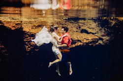 trash the dress underwater photography bride and groom cenote riviera maya
