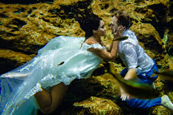 trahs the dress underwater cenote photography riviera maya