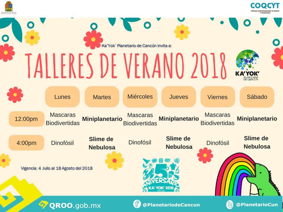 Talleres Verano (Horarios) 4Jul-18Ago 2018 Kayok