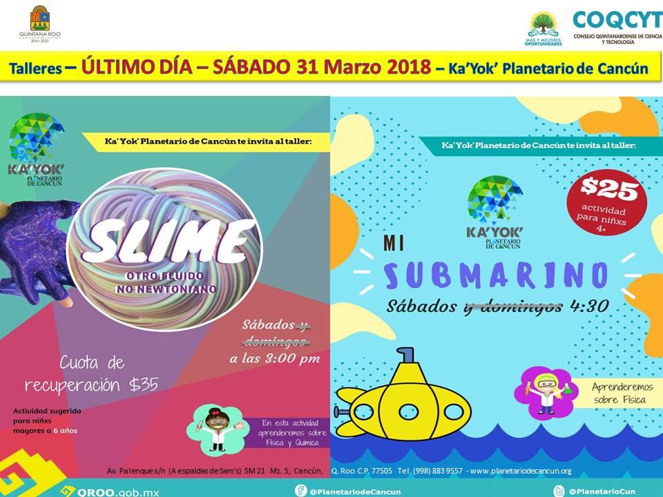 2 Talleres Sábados Slime y Submarino