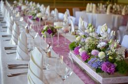 Tischdeko lila Gesteck