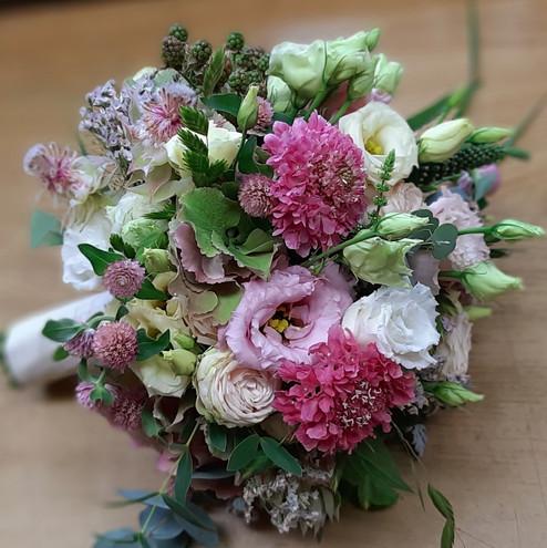 Brautstrauß rosa, grün