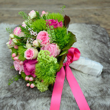 Brautstrauß rosa-grün