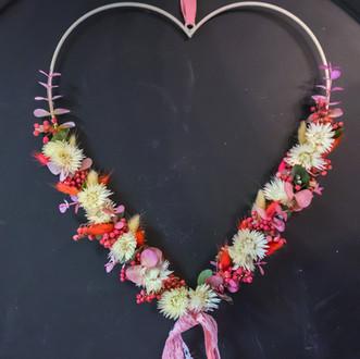 Trockenblumen Herz pinke Strohblumen