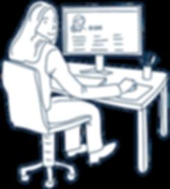 Skolsköterska utför arbete vid dator
