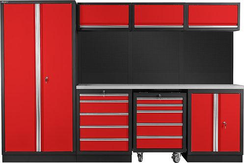 Autotallin sisustus / työpiste (punainen/musta)