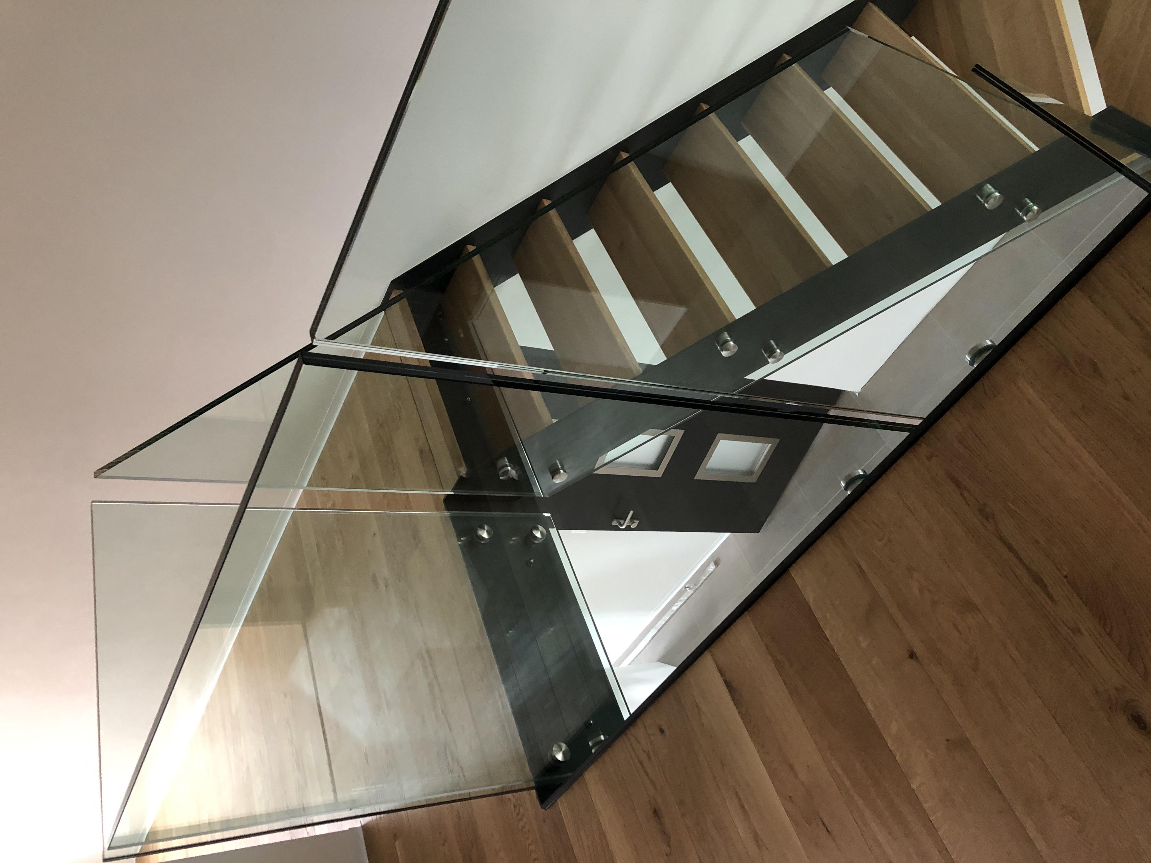 Escalier bois métal + verres