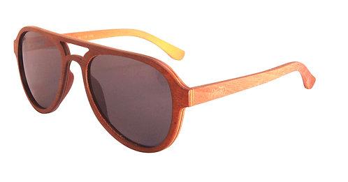 Martzi Eyewear Sunglasses Walnut & Orange Maple Aviators angle view
