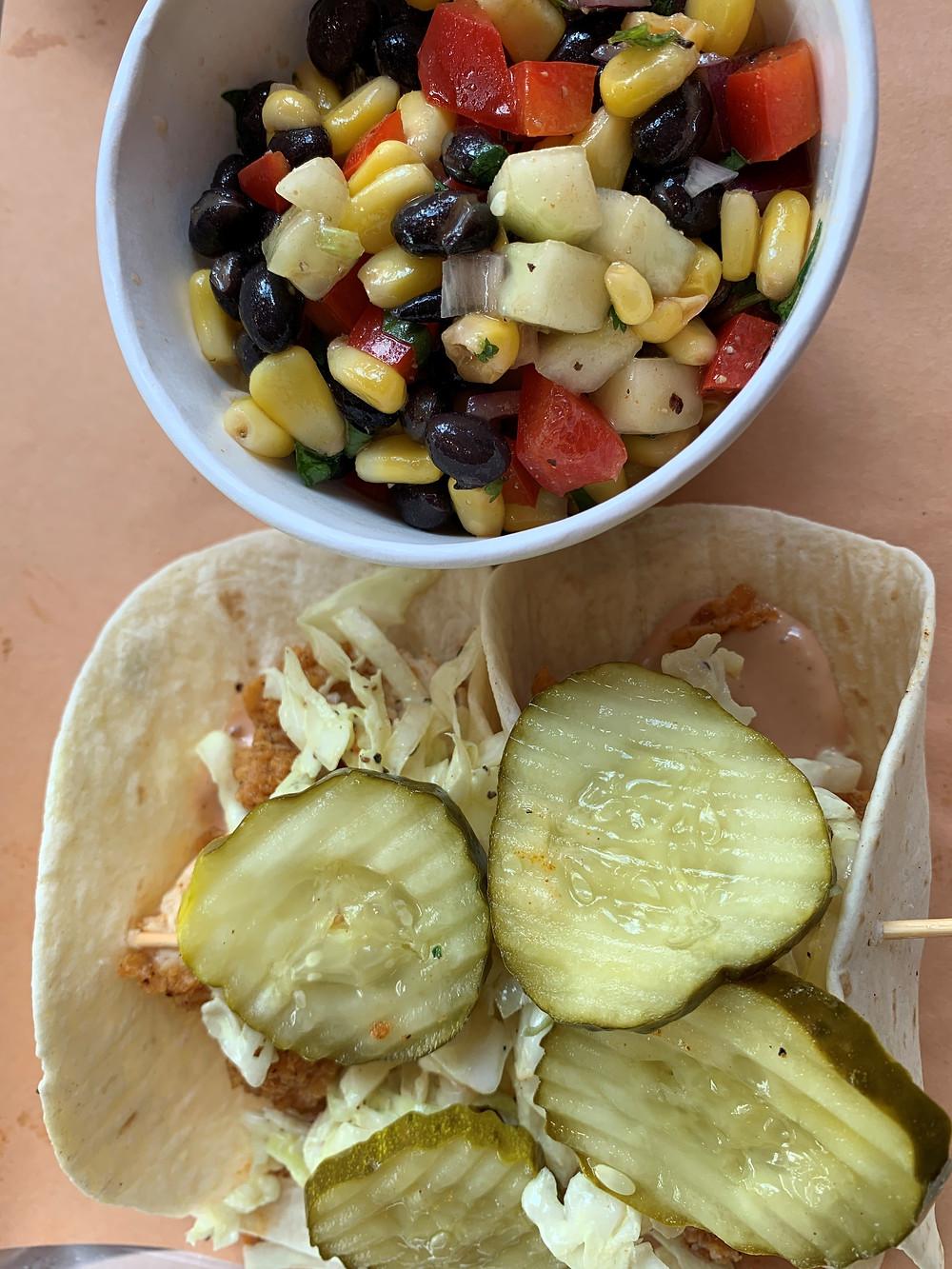 The Cookshack's Chicken Tacos and Texas Caviar