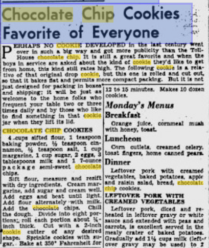 April 7, 1945 edition Pittsburg Gazette Chocolate Chip Cookie article