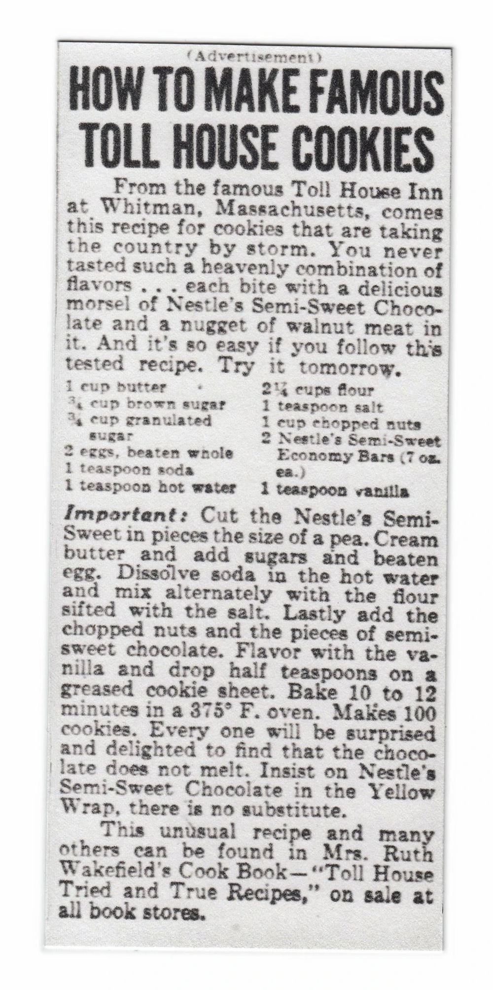 Vintage Toll House Chocolate Chip Cookie Recipe