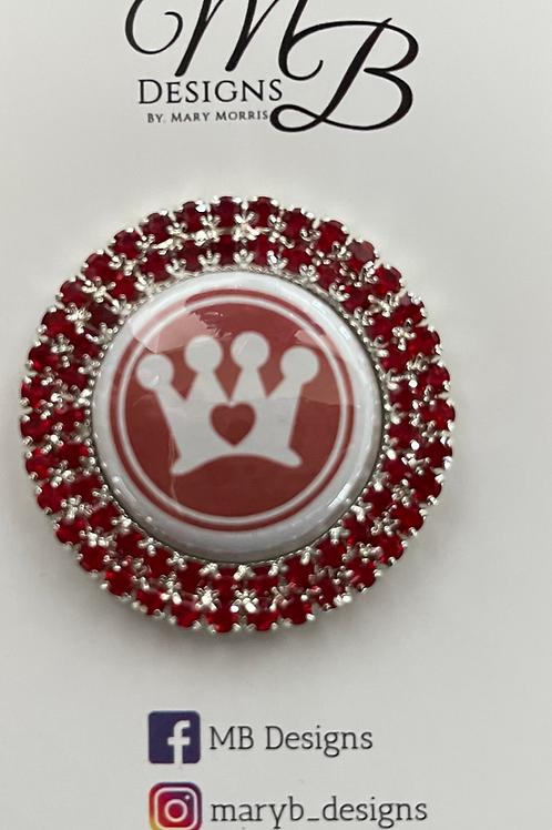 Crown CARES Logo Double Rim Rhinestone Sash Magnet