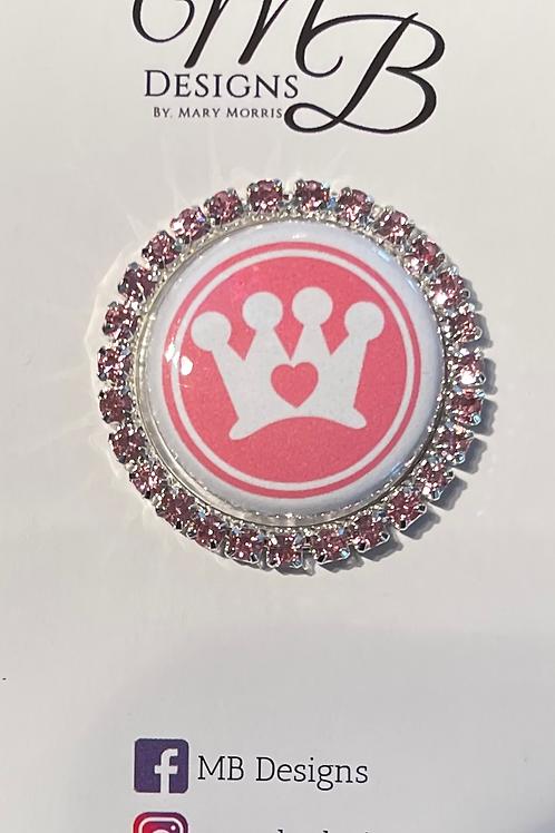 Crown CARES Single Rim Rhinestone Sash Magnet