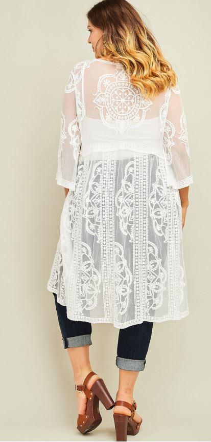 Plus Lace Kimono White