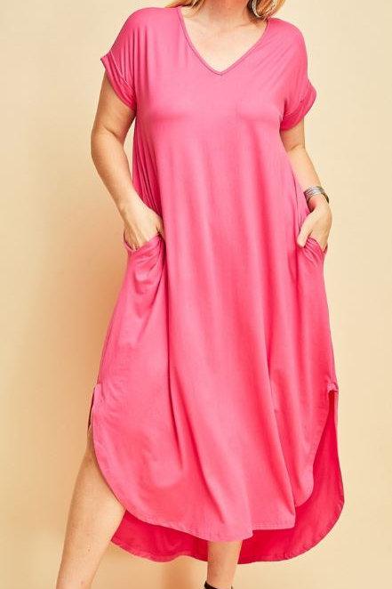 Plus T-Shirt Maxi - Hot Pink