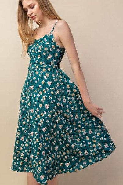 Teal Floral Fit & Flare Dress