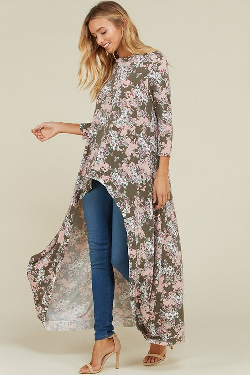 Olive Floral High-Lo Top