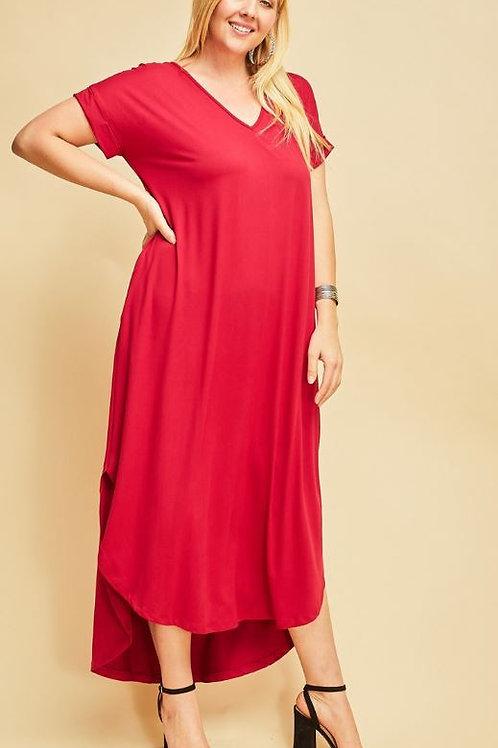 Plus T-Shirt Maxi - Ruby Red