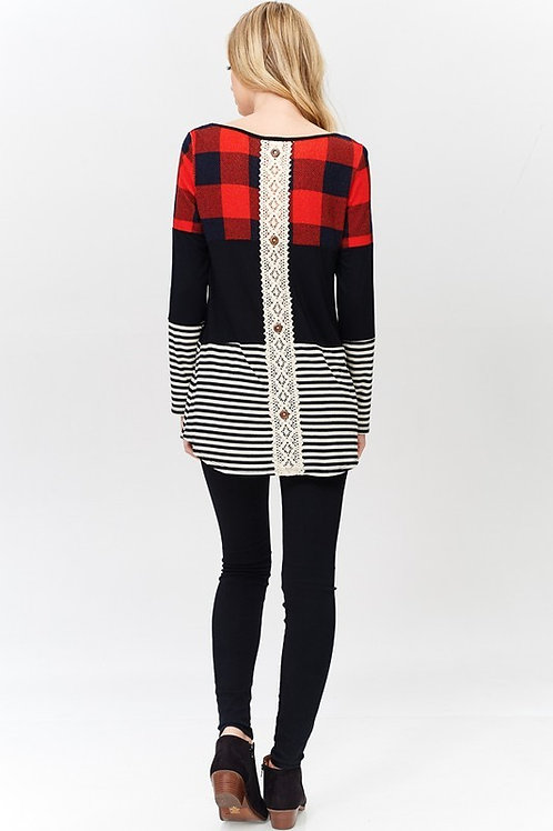 Plaid Color Block with Lace Button Back